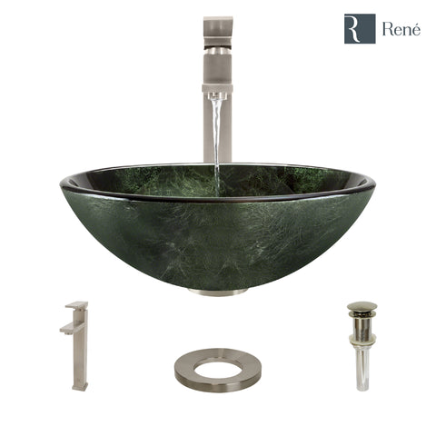 "Rene 17"" Round Glass Bathroom Sink, Forest Green, with Faucet, R5-5027-R9-7003-BN"