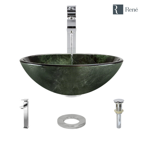 "Rene 17"" Round Glass Bathroom Sink, Forest Green, with Faucet, R5-5027-R9-7003-C"