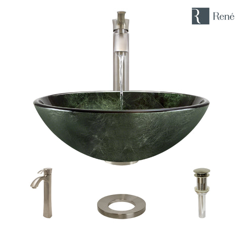 "Rene 17"" Round Glass Bathroom Sink, Forest Green, with Faucet, R5-5027-R9-7006-BN"