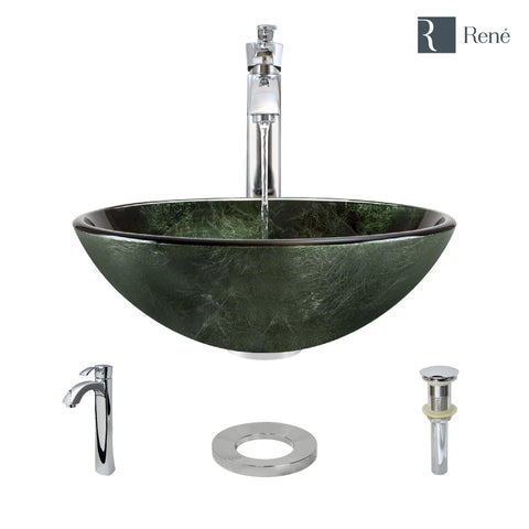 "Rene 17"" Round Glass Bathroom Sink, Forest Green, with Faucet, R5-5027-R9-7006-C"