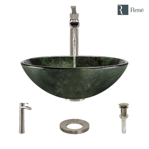 "Rene 17"" Round Glass Bathroom Sink, Forest Green, with Faucet, R5-5027-R9-7007-BN"