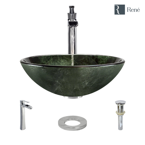 "Rene 17"" Round Glass Bathroom Sink, Forest Green, with Faucet, R5-5027-R9-7007-C"