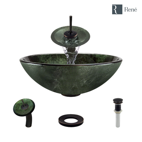 "Rene 17"" Round Glass Bathroom Sink, Forest Green, with Faucet, R5-5027-WF-ABR"