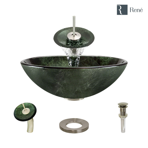 "Rene 17"" Round Glass Bathroom Sink, Forest Green, with Faucet, R5-5027-WF-BN"