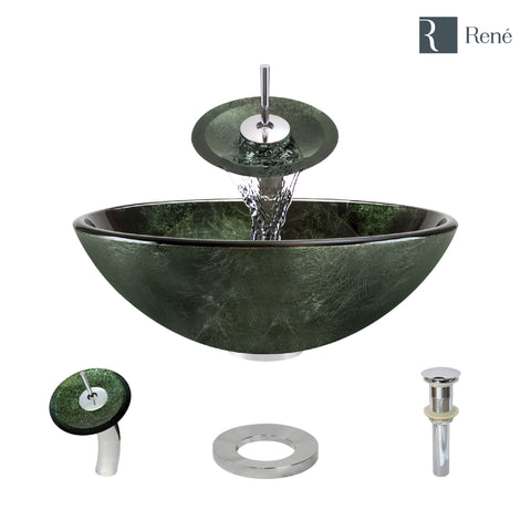 "Rene 17"" Round Glass Bathroom Sink, Forest Green, with Faucet, R5-5027-WF-C"