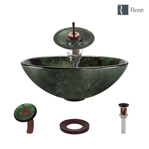 "Rene 17"" Round Glass Bathroom Sink, Forest Green, with Faucet, R5-5027-WF-ORB"