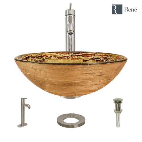 "Rene 17"" Round Glass Bathroom Sink, Golden and auburn, with Faucet, R5-5029-R9-7001-BN"