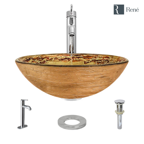 "Rene 17"" Round Glass Bathroom Sink, Golden and auburn, with Faucet, R5-5029-R9-7001-C"