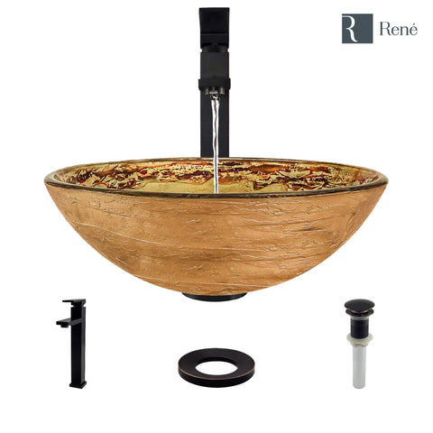 "Rene 17"" Round Glass Bathroom Sink, Golden and auburn, with Faucet, R5-5029-R9-7003-ABR"