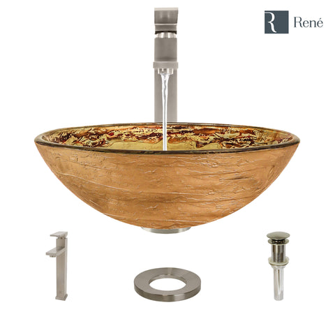 "Rene 17"" Round Glass Bathroom Sink, Golden and auburn, with Faucet, R5-5029-R9-7003-BN"