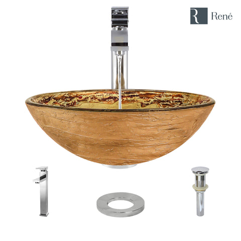 "Rene 17"" Round Glass Bathroom Sink, Golden and auburn, with Faucet, R5-5029-R9-7003-C"