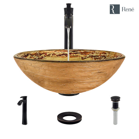 "Rene 17"" Round Glass Bathroom Sink, Golden and auburn, with Faucet, R5-5029-R9-7006-ABR"