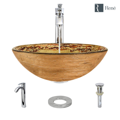 "Rene 17"" Round Glass Bathroom Sink, Golden and auburn, with Faucet, R5-5029-R9-7006-C"