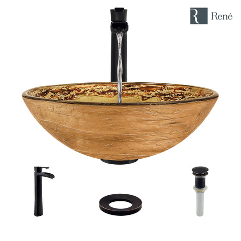 "Rene 17"" Round Glass Bathroom Sink, Golden and auburn, with Faucet, R5-5029-R9-7007-ABR"