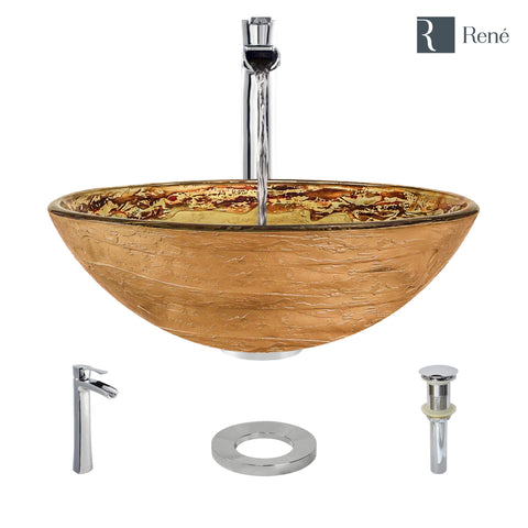 "Rene 17"" Round Glass Bathroom Sink, Golden and auburn, with Faucet, R5-5029-R9-7007-C"