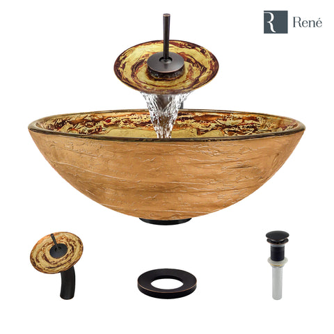 "Rene 17"" Round Glass Bathroom Sink, Golden and auburn, with Faucet, R5-5029-WF-ABR"