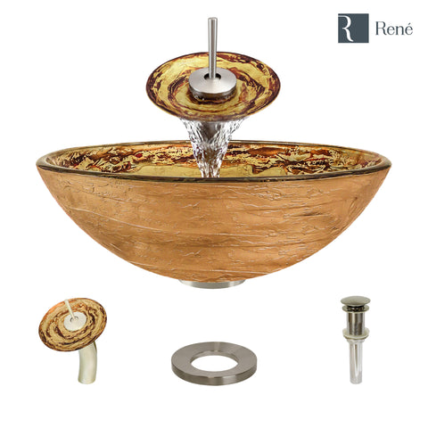 "Rene 17"" Round Glass Bathroom Sink, Golden and auburn, with Faucet, R5-5029-WF-BN"