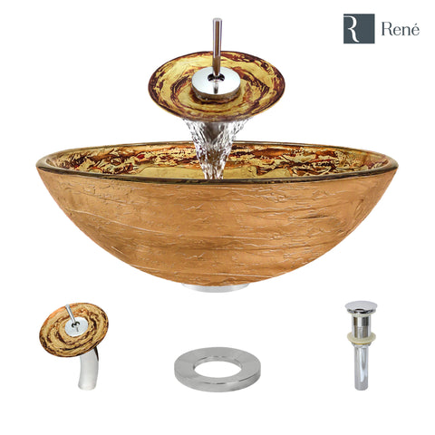 "Rene 17"" Round Glass Bathroom Sink, Golden and auburn, with Faucet, R5-5029-WF-C"