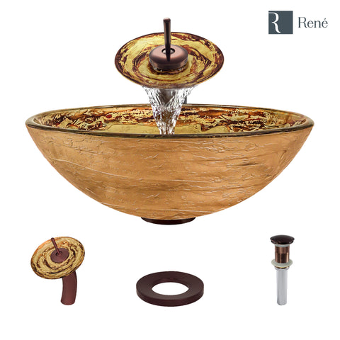 "Rene 17"" Round Glass Bathroom Sink, Golden and auburn, with Faucet, R5-5029-WF-ORB"