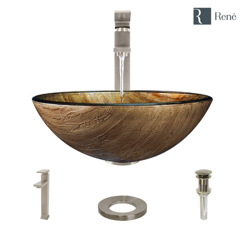 "Rene 17"" Round Glass Bathroom Sink, Bronze, with Faucet, R5-5030-R9-7003-BN"