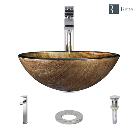 "Rene 17"" Round Glass Bathroom Sink, Bronze, with Faucet, R5-5030-R9-7003-C"