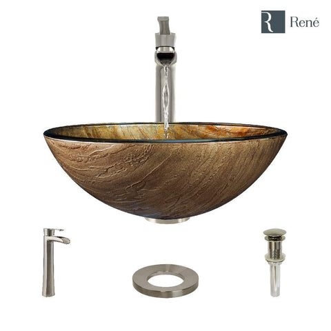 "Rene 17"" Round Glass Bathroom Sink, Bronze, with Faucet, R5-5030-R9-7007-BN"