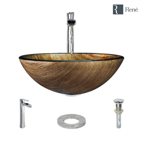 "Rene 17"" Round Glass Bathroom Sink, Bronze, with Faucet, R5-5030-R9-7007-C"