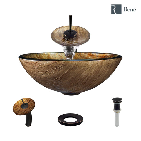 "Rene 17"" Round Glass Bathroom Sink, Bronze, with Faucet, R5-5030-WF-ABR"