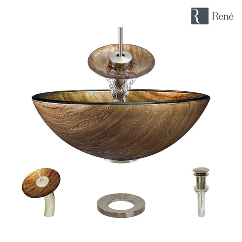 "Rene 17"" Round Glass Bathroom Sink, Bronze, with Faucet, R5-5030-WF-BN"