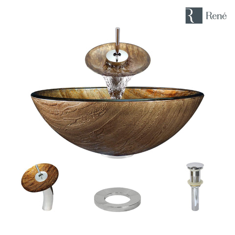 "Rene 17"" Round Glass Bathroom Sink, Bronze, with Faucet, R5-5030-WF-C"