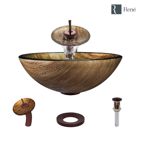 "Rene 17"" Round Glass Bathroom Sink, Bronze, with Faucet, R5-5030-WF-ORB"