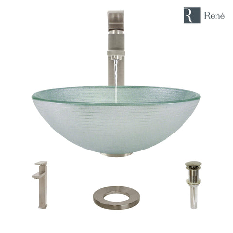 "Rene 17"" Round Glass Bathroom Sink, Sparkling Silver, with Faucet, R5-5034-R9-7003-BN"