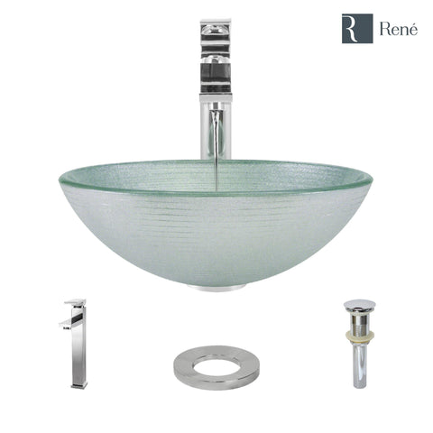 "Rene 17"" Round Glass Bathroom Sink, Sparkling Silver, with Faucet, R5-5034-R9-7003-C"