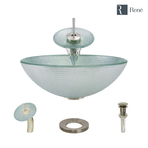 "Rene 17"" Round Glass Bathroom Sink, Sparkling Silver, with Faucet, R5-5034-WF-BN"