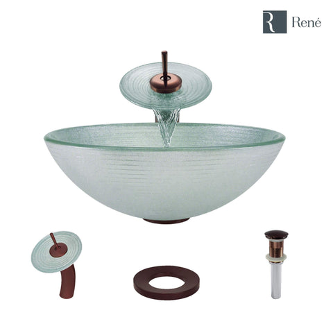 "Rene 17"" Round Glass Bathroom Sink, Sparkling Silver, with Faucet, R5-5034-WF-ORB"