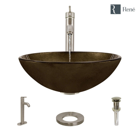 "Rene 17"" Round Glass Bathroom Sink, Regal Bronze and Earth Tones, with Faucet, R5-5035-R9-7001-BN"