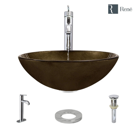 "Rene 17"" Round Glass Bathroom Sink, Regal Bronze and Earth Tones, with Faucet, R5-5035-R9-7001-C"