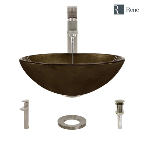 "Rene 17"" Round Glass Bathroom Sink, Regal Bronze and Earth Tones, with Faucet, R5-5035-R9-7003-BN"