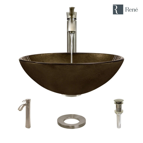 "Rene 17"" Round Glass Bathroom Sink, Regal Bronze and Earth Tones, with Faucet, R5-5035-R9-7006-BN"