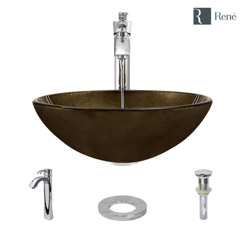 "Rene 17"" Round Glass Bathroom Sink, Regal Bronze and Earth Tones, with Faucet, R5-5035-R9-7006-C"