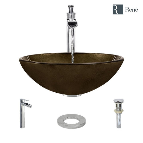 "Rene 17"" Round Glass Bathroom Sink, Regal Bronze and Earth Tones, with Faucet, R5-5035-R9-7007-C"