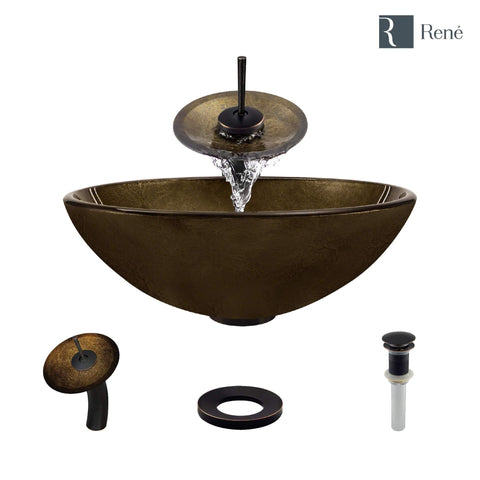 "Rene 17"" Round Glass Bathroom Sink, Regal Bronze and Earth Tones, with Faucet, R5-5035-WF-ABR"