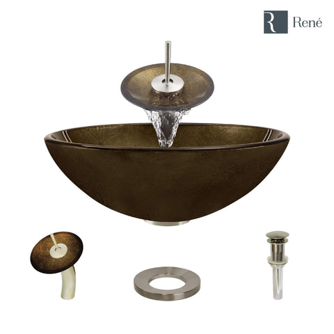 "Rene 17"" Round Glass Bathroom Sink, Regal Bronze and Earth Tones, with Faucet, R5-5035-WF-BN"