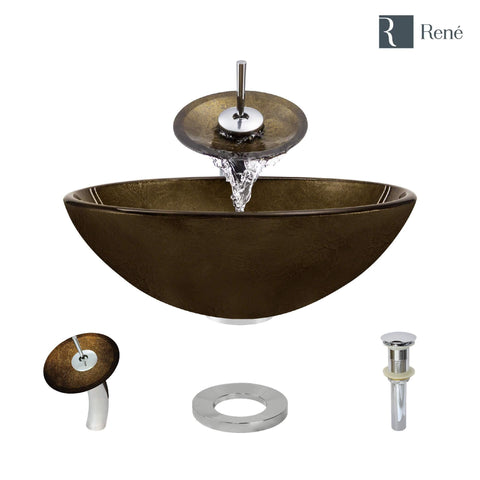 "Rene 17"" Round Glass Bathroom Sink, Regal Bronze and Earth Tones, with Faucet, R5-5035-WF-C"