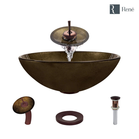"Rene 17"" Round Glass Bathroom Sink, Regal Bronze and Earth Tones, with Faucet, R5-5035-WF-ORB"
