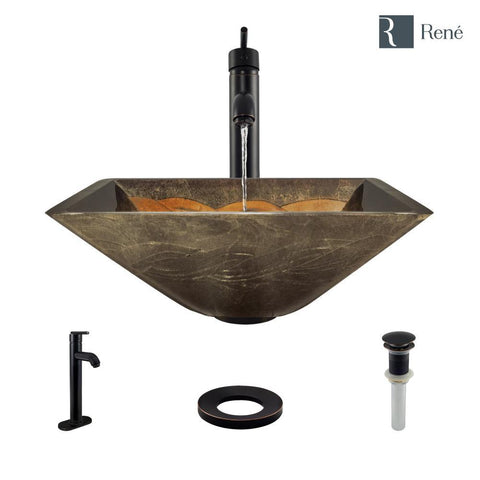 "Rene 17"" Square Glass Bathroom Sink, Metallic Green and Gold, with Faucet, R5-5036-R9-7001-ABR"