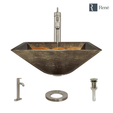 "Rene 17"" Square Glass Bathroom Sink, Metallic Green and Gold, with Faucet, R5-5036-R9-7001-BN"