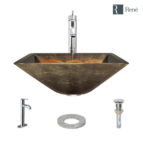 "Rene 17"" Square Glass Bathroom Sink, Metallic Green and Gold, with Faucet, R5-5036-R9-7001-C"
