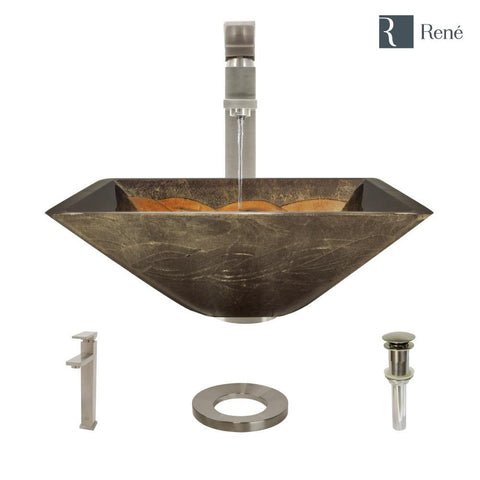 "Rene 17"" Square Glass Bathroom Sink, Metallic Green and Gold, with Faucet, R5-5036-R9-7003-BN"