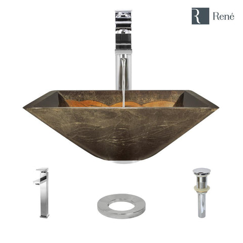 "Rene 17"" Square Glass Bathroom Sink, Metallic Green and Gold, with Faucet, R5-5036-R9-7003-C"